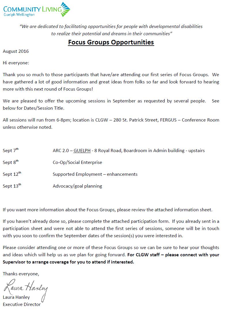 Information regarding focus groups