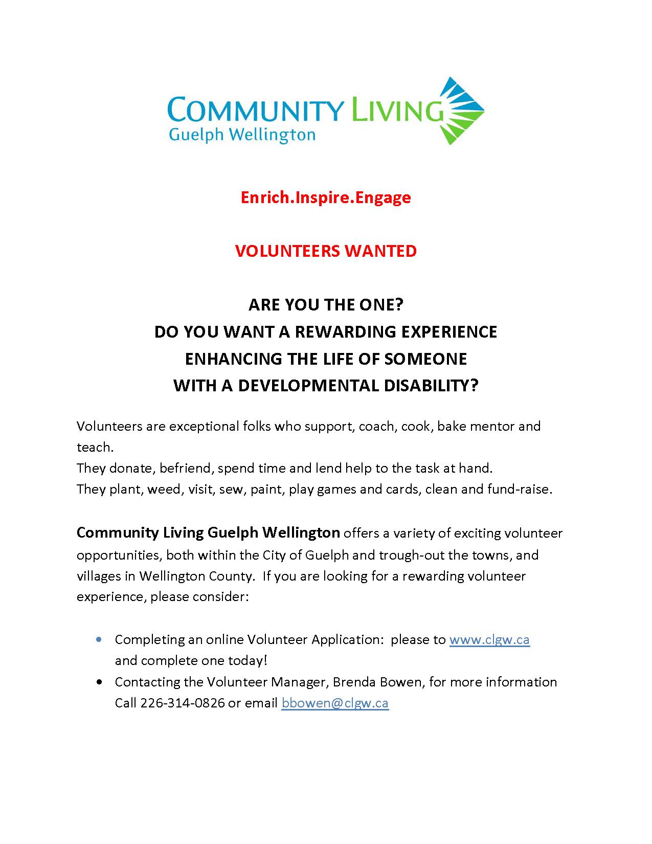 CLGW Volunteers Wanted 2016
