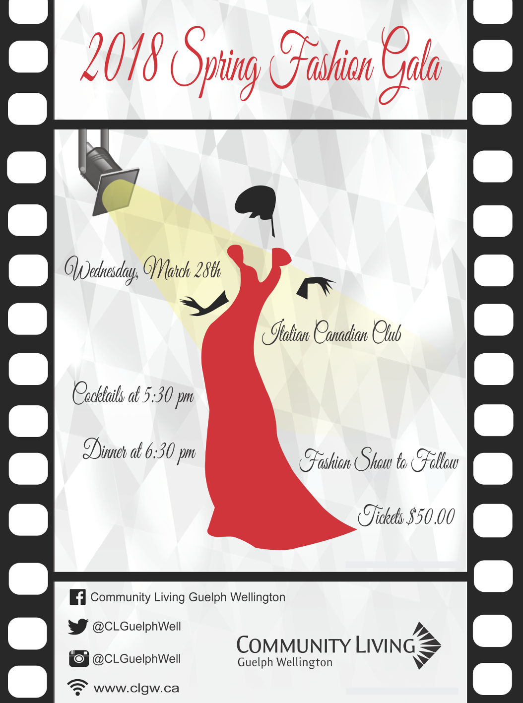 Spring Fashion Gala - March 28 - Itialian Canadian Club of Canada $50 5:30 cocktails, Dinner at 6:30pm Fashion Show to Follow tickets online or available from Fern at 519-824-2480.
